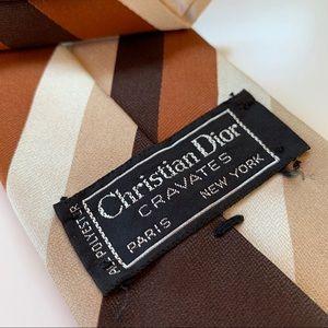 Christian Dior Cravates Brown Stripe Mens Tie